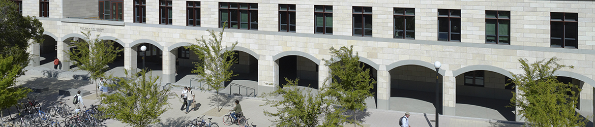 Front entrance of Jerry Yang and Akiko Yamazaki Environment & Energy Building with bike racks in front