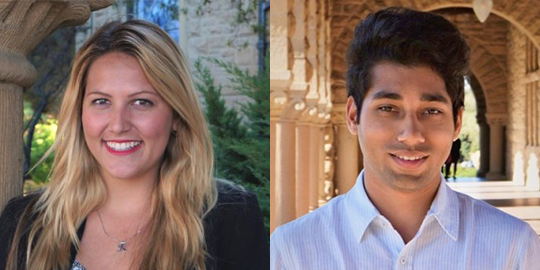 headshots of Kaitlyn Albertoli and Vikhyat Chaudhry