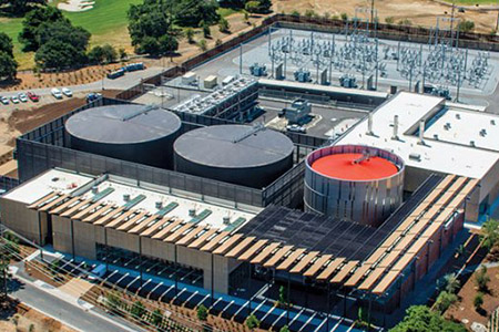 aerial view of Stanford's central energy facility