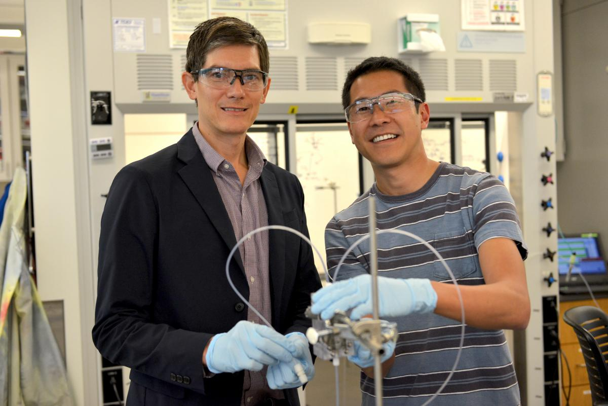 Associate Professor Thomas Jaramillo (left) and SLAC scientist Christopher Hahn have demonstrated the feasibility of designing copper catalysts that convert carbon dioxide into ethanol without corn or other crops.