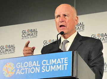 California Gov. Jerry Brown speaking at the Global Climate Action Summit