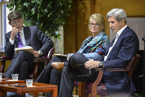 Photo of Jeffrey Ball, Anne Finucane and John Kerry