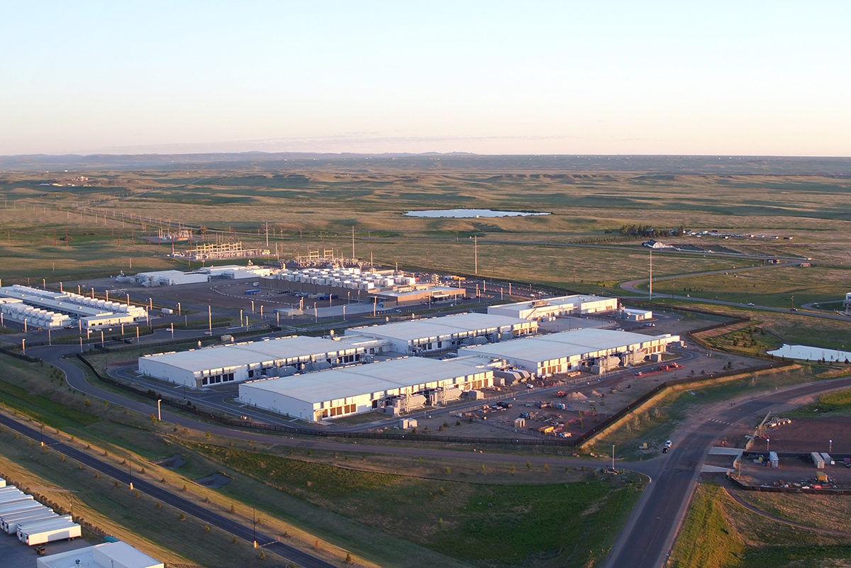 aerial photograph of Microsoft data center in Cheyanne, WY, surrounded by green fields