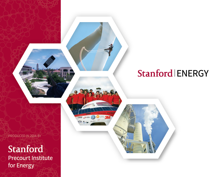 Hexagons with image of pv research, stanford solar car, man climbing wind tower and natural gas facility