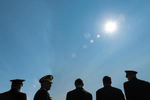 Army Chief of Staff Gen. Raymond T. Odierno; Defense Secretary Ash Carter; Army Secretary John M. McHugh; Gen. Martin E. Dempsey, chairman of the Joint Chiefs of Staff; and incoming Army Chief of Staff Gen. Mark A. Milley stand in line before the start of a change of responsibility ceremony at Summerall Field at Fort Myer, Va., Aug. 14, 2015.