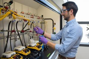 Stanford Assistant Professor Matteo Cargnello at a lab where nanocrystals are grown.