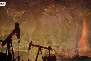 Oil pumps, North American map and flame montage.