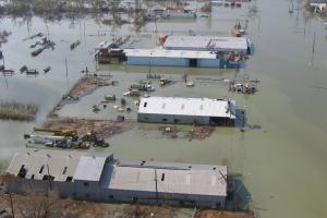 Venice, La., with at least two to 3 feet of water two weeks after Hurricane Katrina.