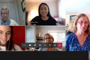 Screen shot of six people smiling on a video call