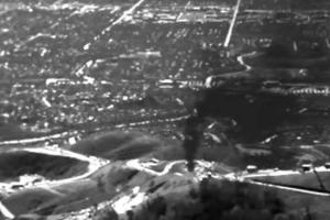 The 2015 Aliso Canyon methane gas leak in Southern California is shown in this image from an infrared camera.