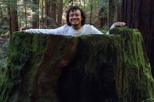 Man with dark hair smiling inside a giant redwood tree