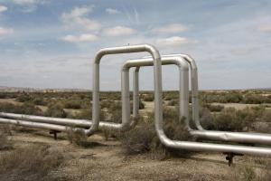 Steam lines from an enhanced oil recovery project in California.