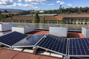 Solar panels ready for installation on Stanford's Maples Pavilion.