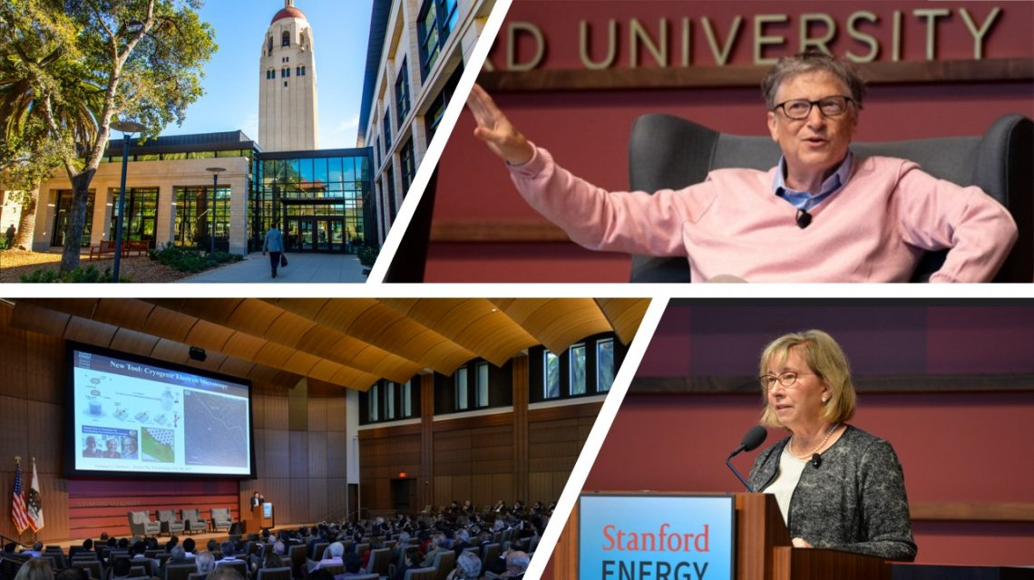 From right to left: Image of Traitel with Hoover tower, Bill Gates, Audience inside GEF and Sally Benson speaking