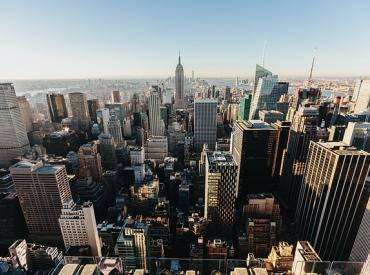 Tall buildings of a city from above