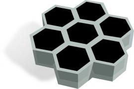 Schematic of a compound solar cell, where a hexagonal scaffold (gray) is used to partition perovskite (black) into microcells to provide mechanical and chemical stability. Courtesy: Dauskardt Lab/Stanford University