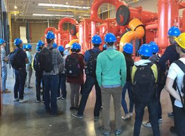 Students viewing Stanford Central Energy System infrastructure