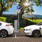 Two electric cars charging