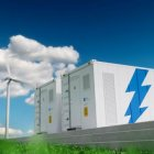 Industrial sized battery with wind machines and solar panels