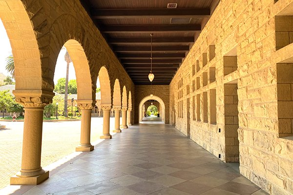 Stanford arcade on a sunny day