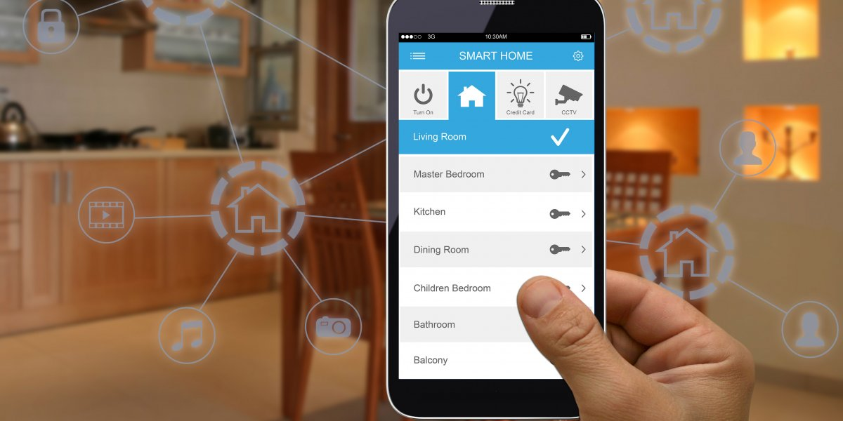 Hand holding mobile phone with energy app