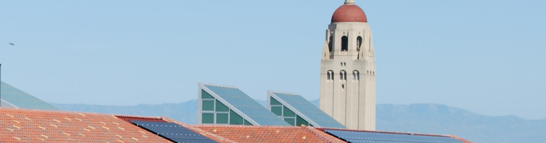 Hoover Tower with rooftops of Y2E2 and Huang in the foreground