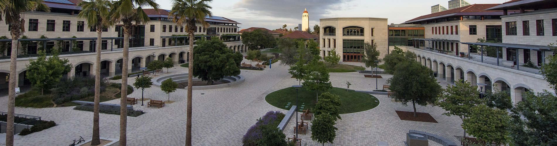 Stanford Engineering quad with Hoover tower in the distance