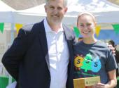 Stanford student Emma Fisher with Eric Montell, executive director of Stanford Dining.