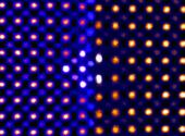 Colorized transmission electron microscopy of ceria ultrathin film reveals that individual atoms (shown as dots) shift under intense pressure.