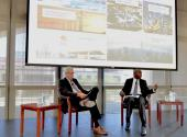 Stanford Geophysics Professor Mark Zoback (left), director of the Stanford Natural Gas Initiative, moderates a discussion with Philip Mshelbila, general manager of gas and director of the Shell Petroleum Development Company of Nigeria Ltd.