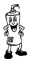 black and white drawing of a cartoonish water heater character smiling