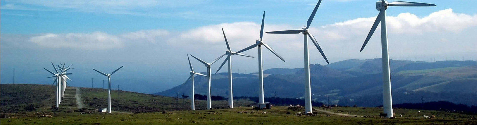 Wind turbines with mountain and blue cloudy skies in background